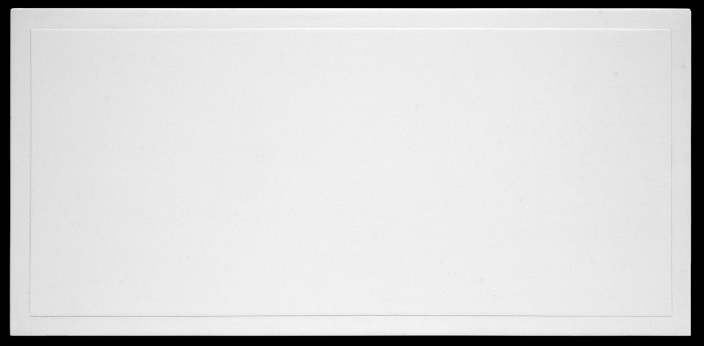 "white slab, 2011, 7.75"" x 15.75""x 1.25"", acrylic on hardboard"